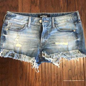 Express Distressed Cut Off Denim Shorts